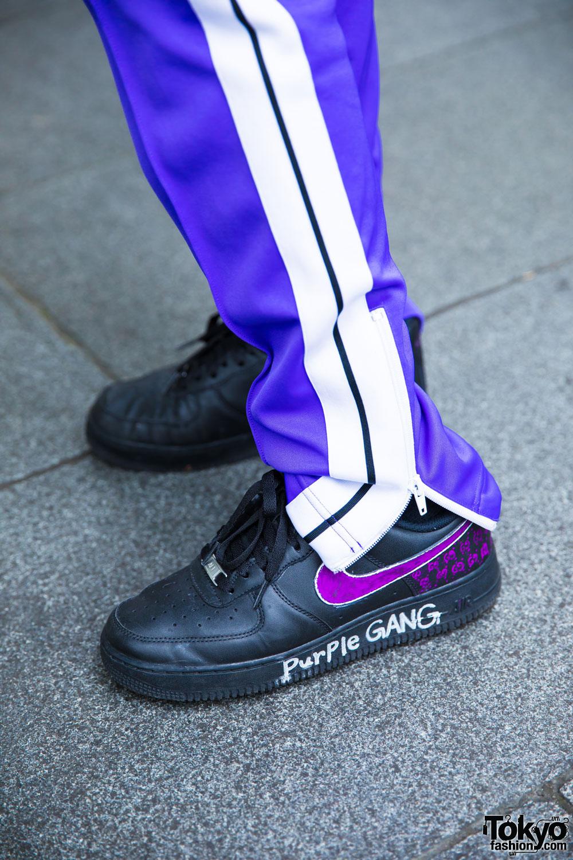 Purple Harajuku Streetwear W Palm Angels Amp Nike Air Force
