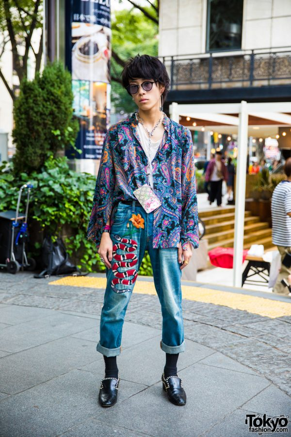 Harajuku Guy in Retro Street Style w/ Paisley Shirt, Gucci Patch Jeans & Vintage Shoes