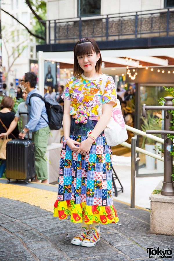 Harajuku Girl in Colorful All Over Print Fashion w/ Grand Ground, Converse, 6%DokiDoki & Nakano Ropeway