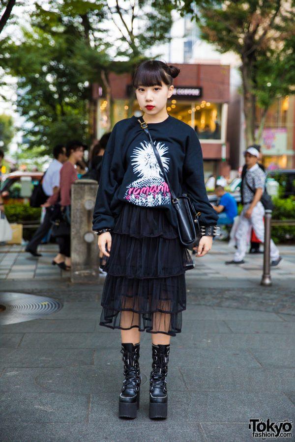 """Harajuku Girl's Dark Streetwear w/ iLiL """"Romantic"""" Sweatshirt & Dolls Kill Platform Boots"""