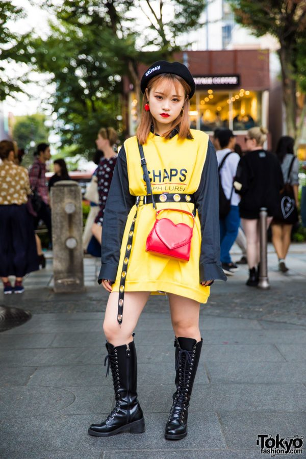 Harajuku Girl in Yellow & Black Streetwear w/ Chaps Ralph Lauren, Open The Door & Stussy