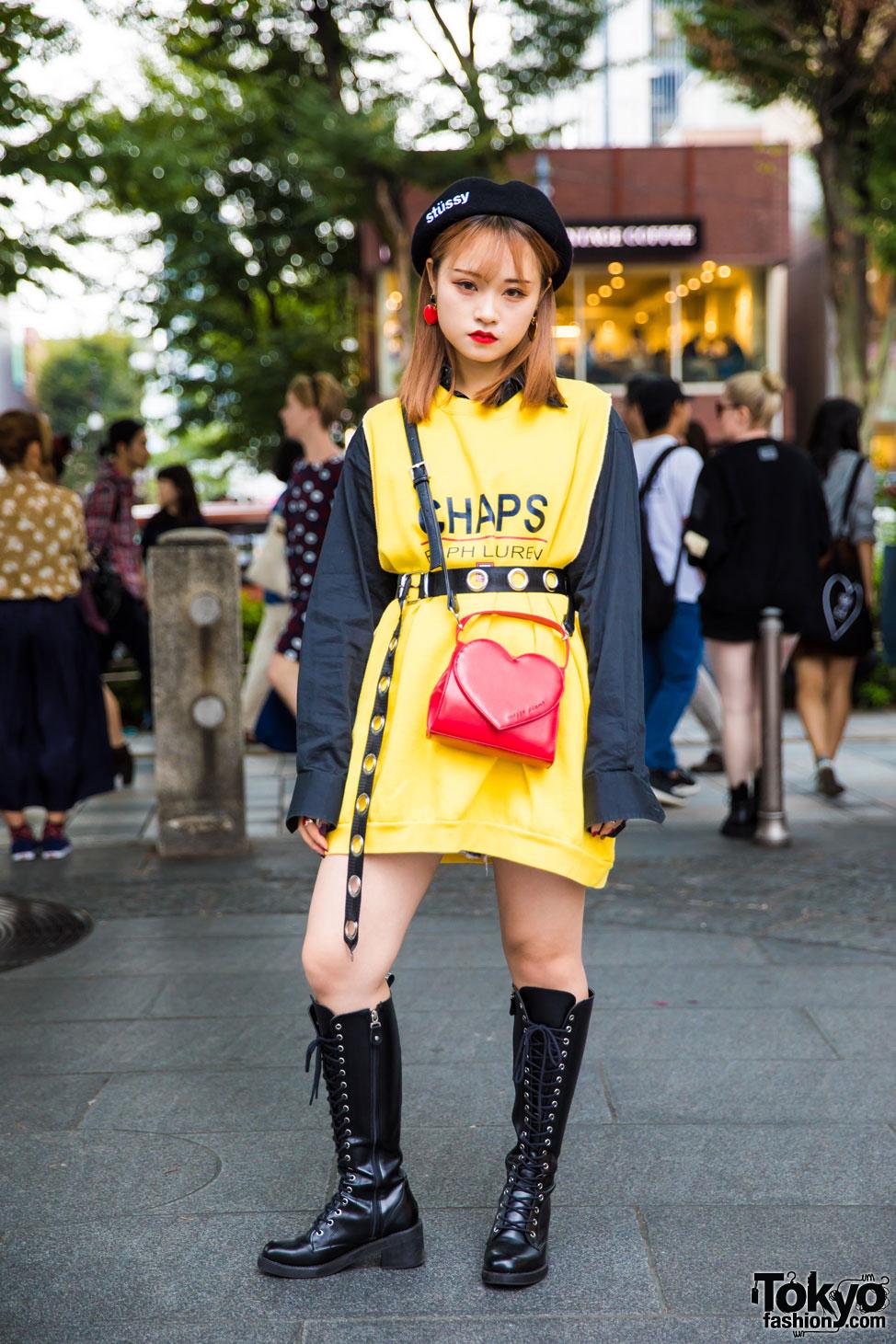 Harajuku Girl In Yellow Black Streetwear W Chaps Ralph Lauren Open The Door Stussy