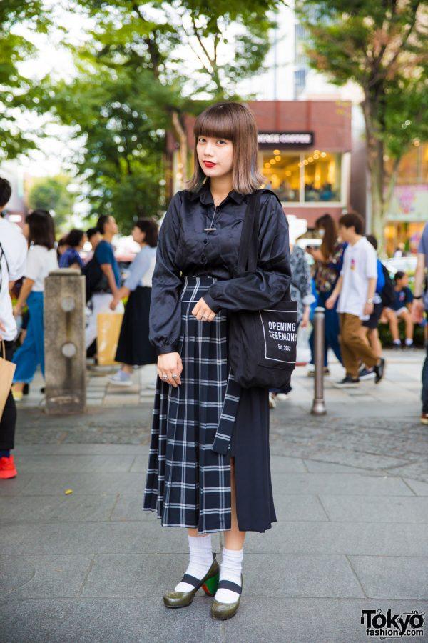 Harajuku Girl in Merry Jenny Satin Top, G.V.G.V. Skirt, Marc Jacobs Colorblock Heels, Vivienne Westwood & Opening Ceremony