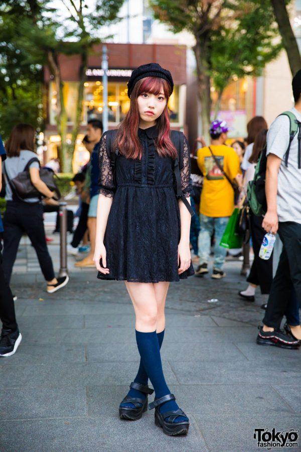 Harajuku Girl in Bubbles Tokyo Black Lace Dress, Platform Sandals & Beret
