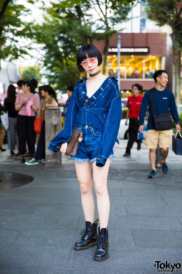 Denim on Denim Fashion in Harajuku w/ Mihara Yasuhiro, Moussy, Dr. Martens & Louis Vuitton