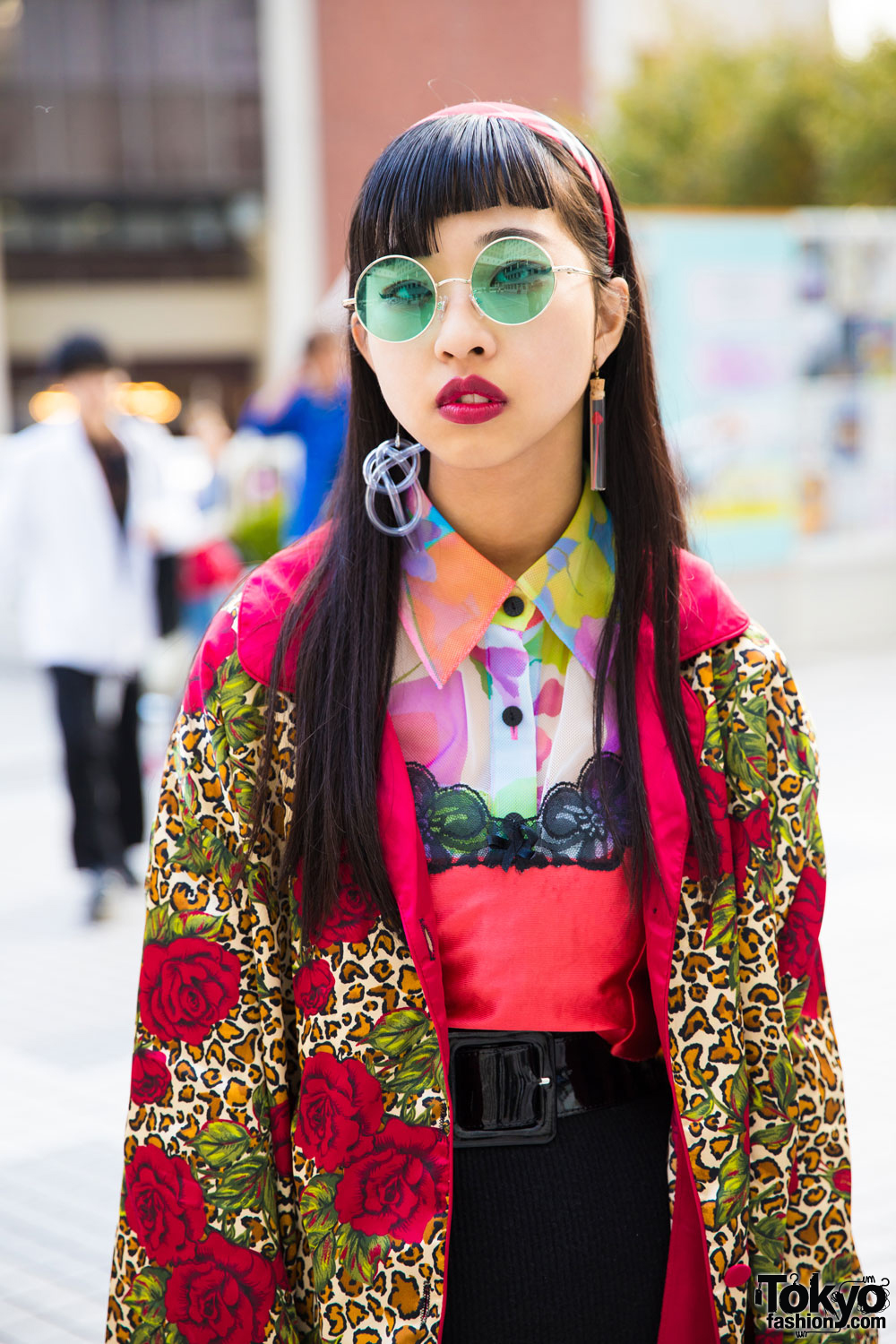 Japanese Fashion Student in Vintage Mixed Prints Street
