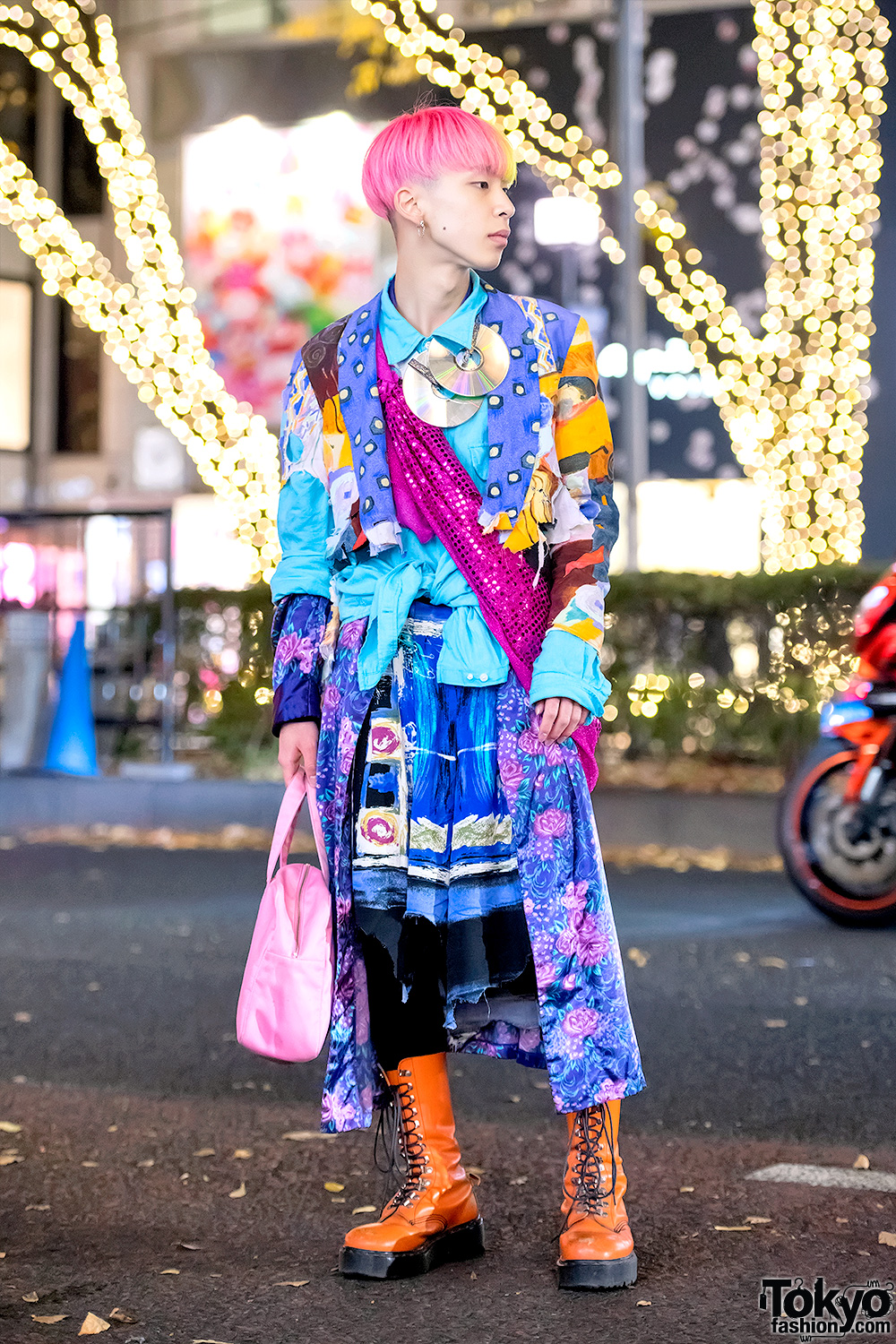 Colorful Harajuku Menswear Street Style W Vintage Items