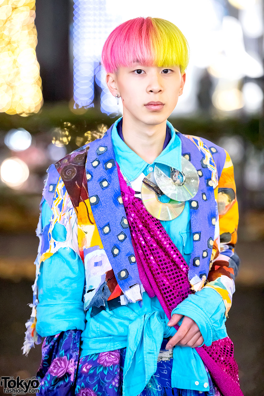 Colorful Harajuku Menswear Street Style W Vintage Items