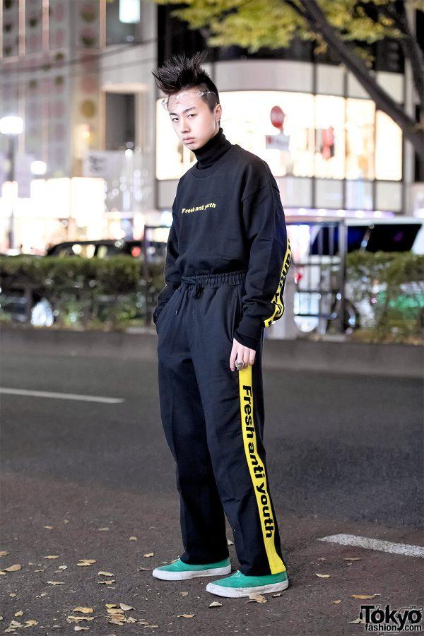 Fresh Anti Youth Street Style in Harajuku at Night