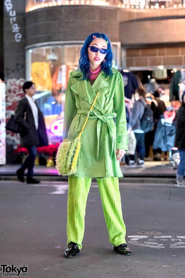 Blue Haired Harajuku Girl in Green Vintage Street Style, Furbies & Balmain