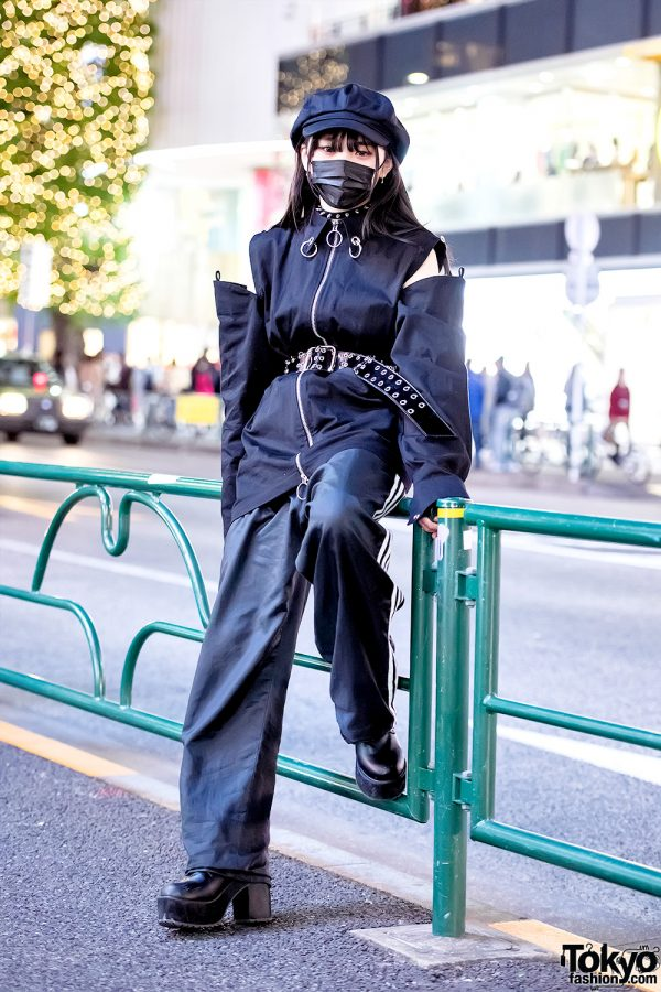 Dark Japanese Streetstyle w/ Face Mask, Spikes & Nevermind The XU Cut Out Top