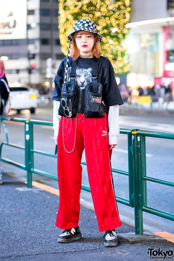 Harajuku Girl in MYOB NYC Vest, Puma Pants, Checkerboard Bucket Hat & Creepers