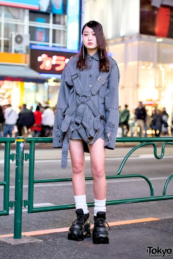 Harajuku Girl in MYOB NYC Harness Shirt, Loose Socks & Demonia Platforms