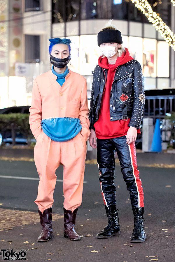 Harajuku Guys in Face Masks, Cropped Suit & Leather w/ Junko Koshino & Acuod by Chanu