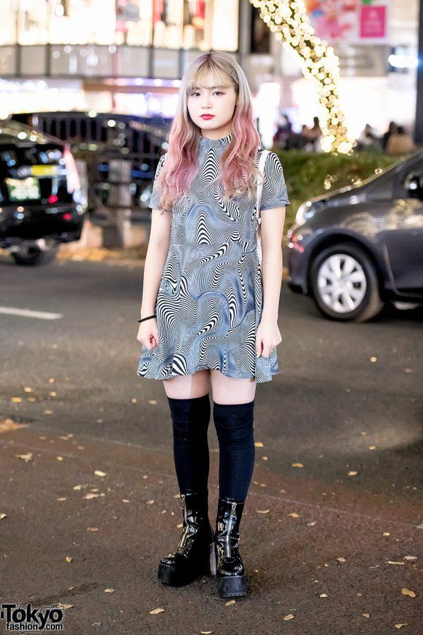 Harajuku Girl in UNIF Optical Illusion Mini Dress, 7% More Pink & UNIF Rainbow Backpack