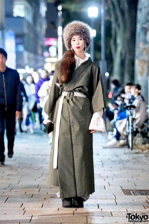 Japanese Kimono Coat, Little Sunny Bite, Kappa & Platform Sandals in Harajuku