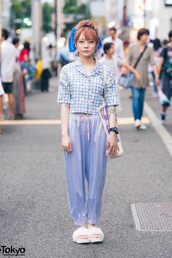 Harajuku Girl in Merry Jenny Printed Top & Satin Pants w/ Mikio Sakabe & WEGO