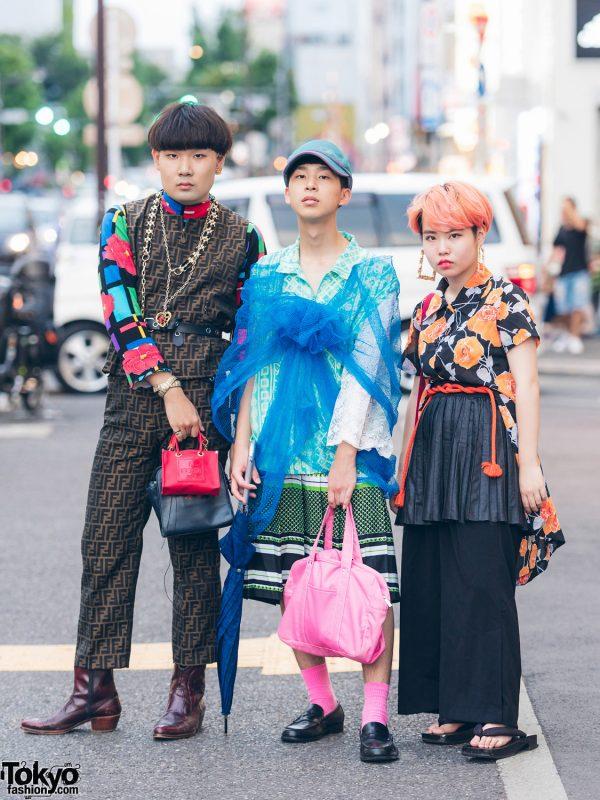 Vintage & Mixed Print Harajuku Street Styles w/ Pinnap, Fendi, Haruta, Kinji, Adidas, Chanel & YSL
