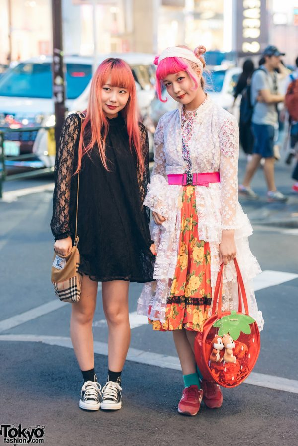 Harajuku Girls in Lace & Mixed Print Street Styles w/ Kinji, Swimmer, Converse, Burberry & New Balance