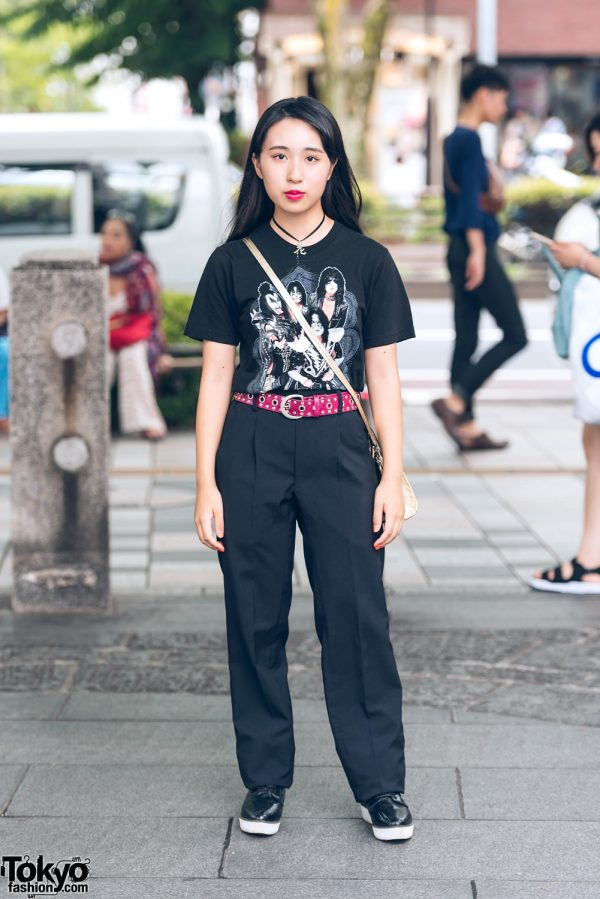 All Black Vintage Harajuku Fashion w/ Kiss Band T-Shirt & Metallic Sling Bag