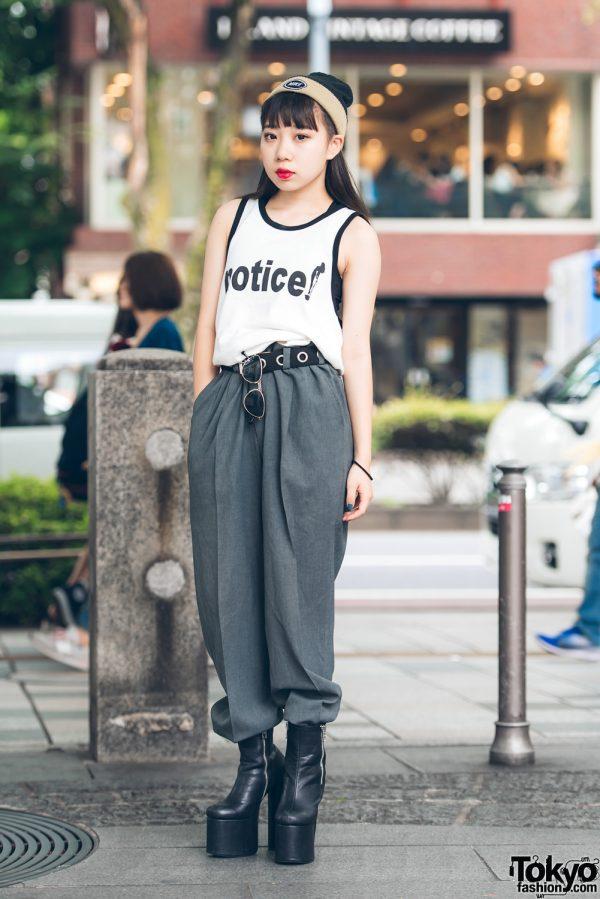 Harajuku Girl in Modern Street Style w/ Vintage Statement Vest, Dolls Kill, Nike & Kinji