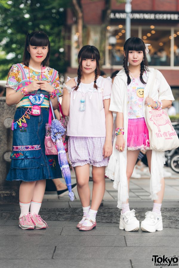 Harajuku Trio in Kawaii & Ruffle Fashion w/ Grand Ground, United Colors of Benetton, Angel Blue, Nile Perch, Kinji, WEGO, 6%DokiDoki, Romantic Standard & More
