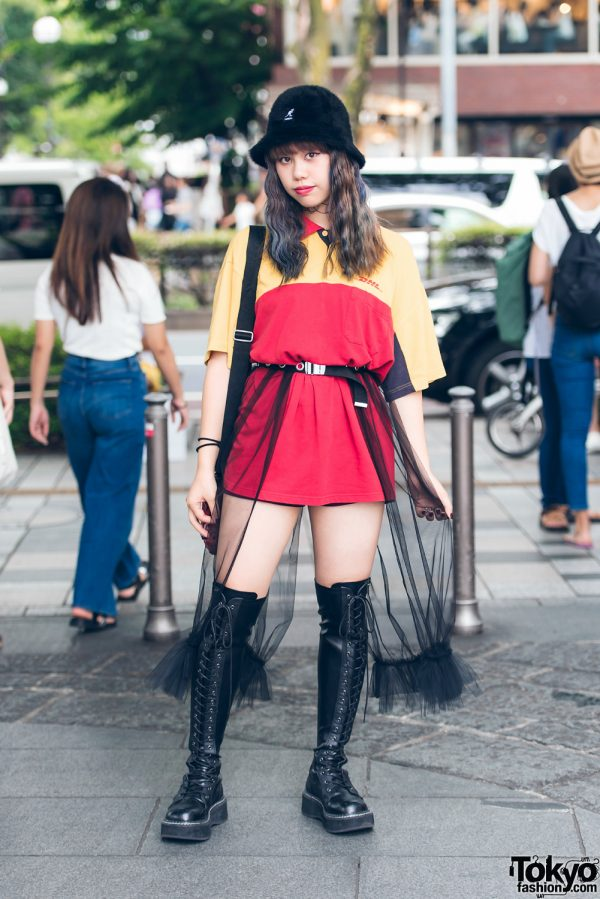 Harajuku Girl Streetwear w/ DHL Shirt, Sheer Skirt, Kangol Bucket Hat & Demonia Thigh High Boots