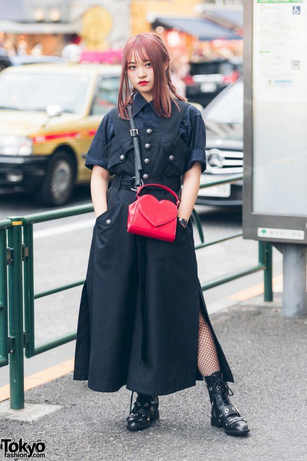 Red-Haired Harajuku Girl in All Black Street Style w/ Christian Dada, Zara & Mezzo Piano