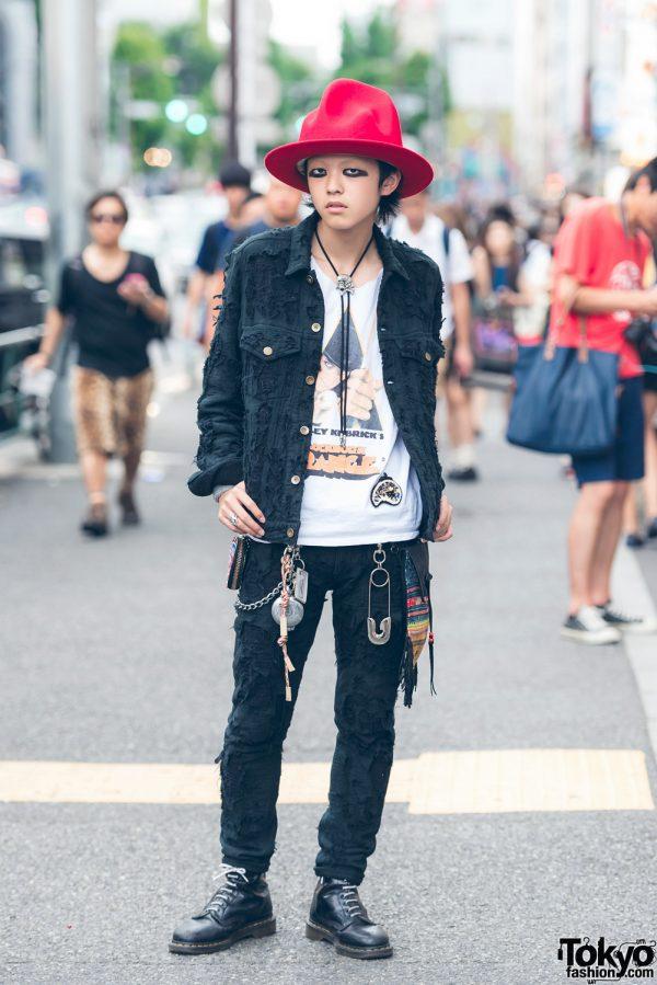 Harajuku Guy in Distressed Denim Street Style w/ Blackmeans, A Clockwork Orange & Dr. Martens