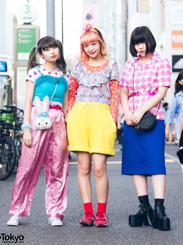 Harajuku Trio in Colorful Mixed Prints Street Styles w/ Kinji, Peco Club, New York Joe, WEGO, Disney, Bubbles, Kenzo, RRR & New Balance