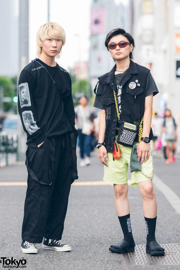 Harajuku Guys in All Black & Remake Street Fashion w/ Caveat Emptor, Y-3, Converse, Reebok & Clash T-Shirt