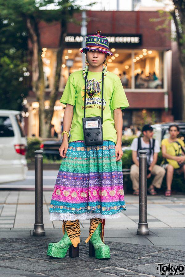 Harajuku Guy in Skirt Over Pants Vintage Fashion w/ Jeremy Scott & Kinji
