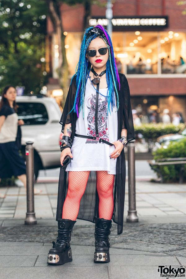 Harajuku Girl in Colorful Fashion w/ SoundWitch, New Rock, Prada, Vivienne Westwood, Fetis & Ray Ban