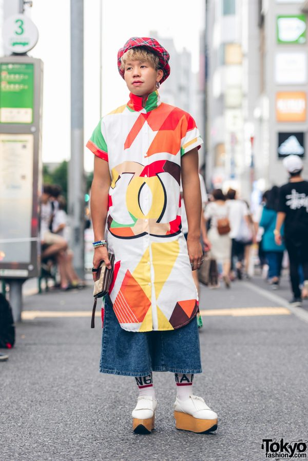 Harajuku Guy in Dress Over Pants Fashion w/ Chanel & Vivienne Westwood