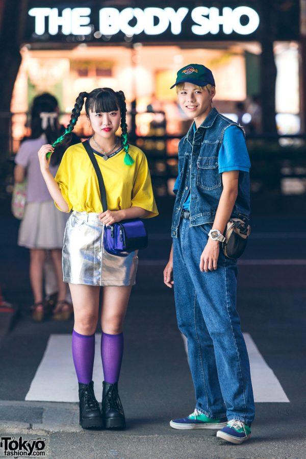 Harajuku Teen Street Styles w/ Green Twin Braids, Metallic Mini Skirt, Levi's Denim, Vans & Faith Tokyo