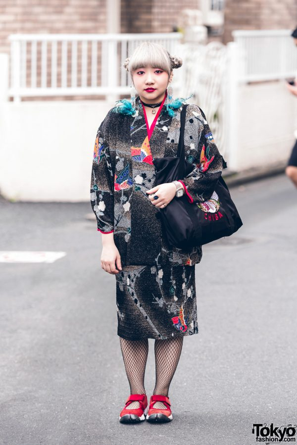 Harajuku Girl w/ Twin Buns Hair in Vintage Fashion, Sukajan Bag & Split Toe Sneakers