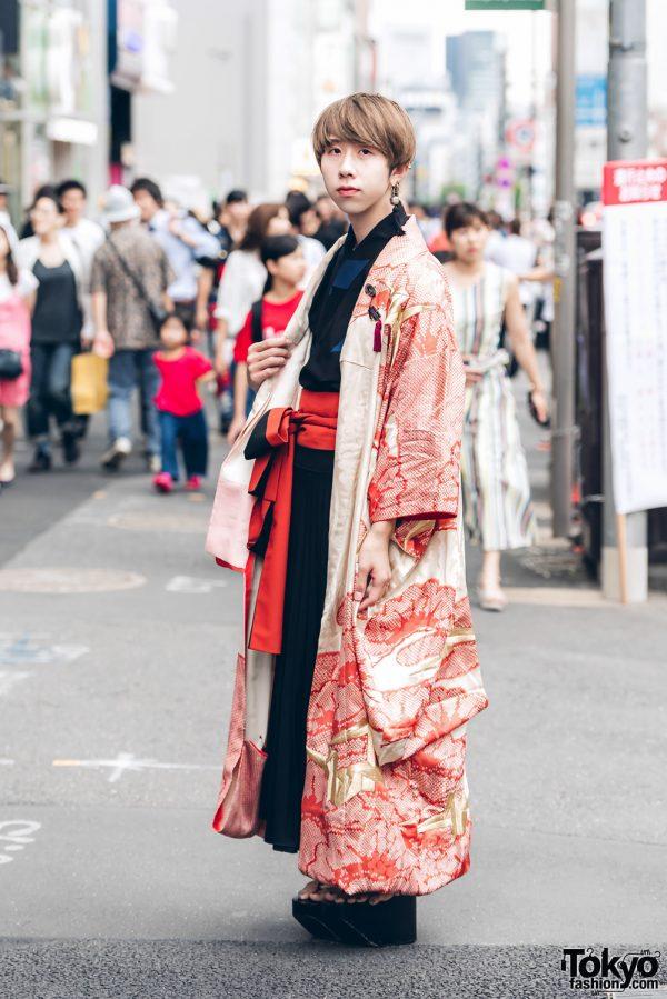 Harajuku Guy in Kimono Street Street Style w/ Okobo Geta Sandals & Gucci Handbag