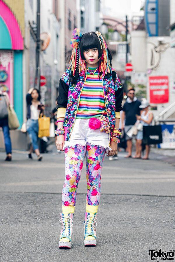 Harajuku Girl In Colorful Kawaii Japanese Street Style w/ 6%DOKIDOKI, WC, Claire's & Yosuke