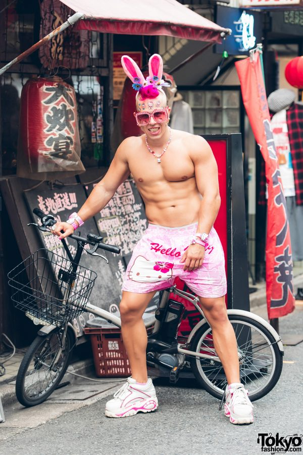 Candy Ken in Harajuku With Big Muscles, Grills & Pink Hello Kitty Fashion