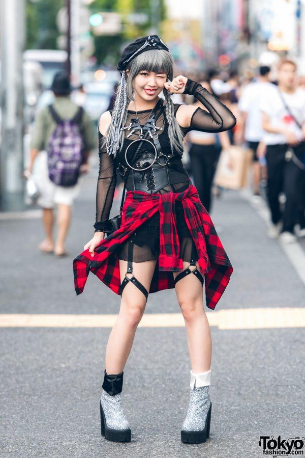 Harajuku Monster Girl in Black-Plaid Corset Street Style w/ M.Y.O.B., UNIF, Jeffrey Campbell, G2? & Erimaki Sox