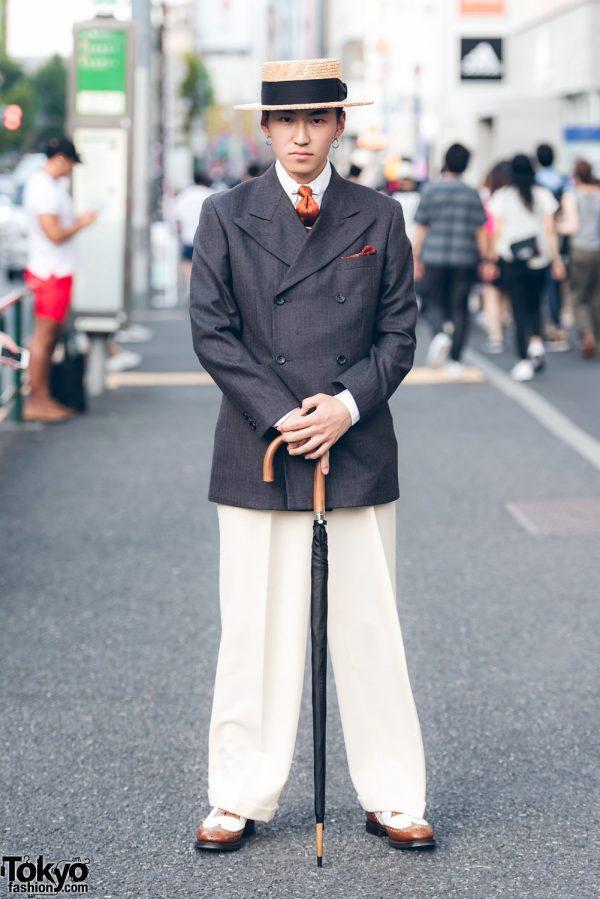 Dapper Harajuku Menswear Street Fashion w/ Vintage Blazer, Straw Hat & Church's Wingtip Shoes
