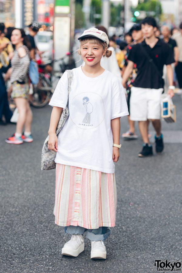 Harajuku Girl in Skirt Over Pants Street Fashion w/ Amatunal, Tokyo Bopper & Chihiro Yasuda