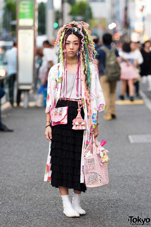 Yarn Designer Kelly Limerick in Harajuku w/ Kimono & Colorful Yarn Hair