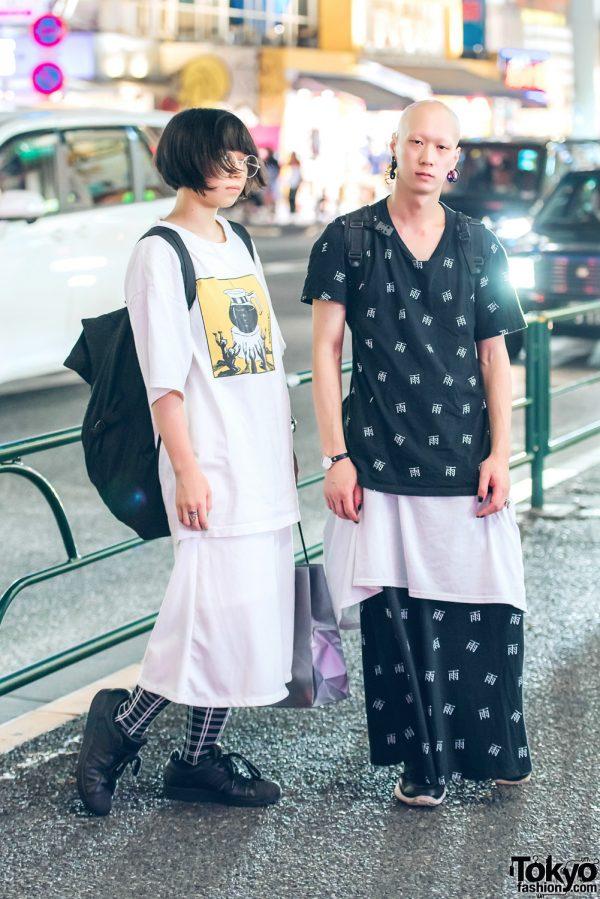 Harajuku Duo in Monochrome T-Shirt & Long Skirt Fashion w/ Adidas, Dickies, Nyulycadelic, Amatsukami Tokyo, Rick Owens & Vivienne Westwood