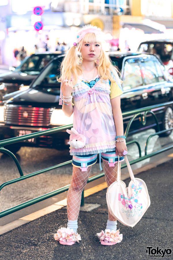 Blonde Harajuku Girl in Lingerie Over Outerwear Pastel Pink Fashion w/ ACDC Rag, Zetsumetsu Kigushu, Hoyajuku, Nile Perch, Thank You Mart, Hayatochiri, 9Box & Claire's