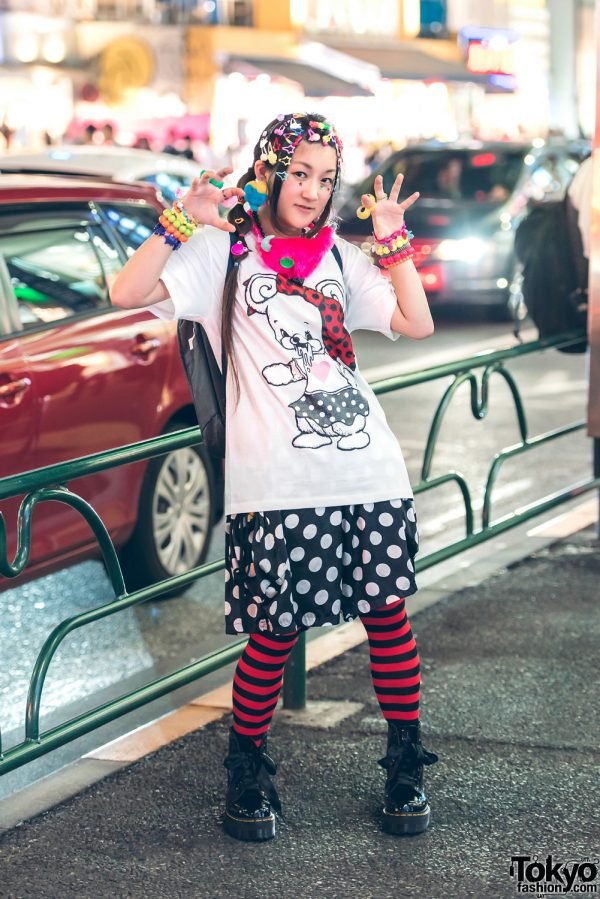 Mixed Prints Kawaii Fashion in Harajuku w/ Monomania, Dr. Martens, Swimmer, Claire's, Seria & 9Box