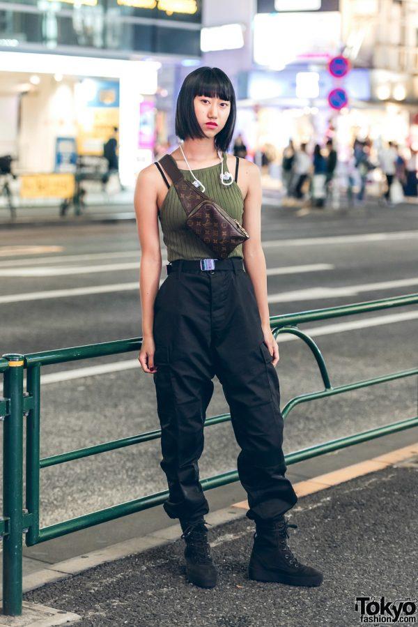 Harajuku Girl in Military Inspired Street Fashion w/ H&M, Rothco, Yeezy Boost Season 3 & Louis Vuitton