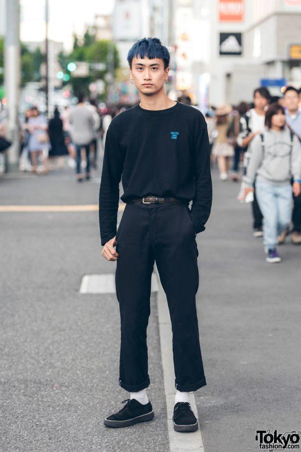 Blue-Haired Harajuku Guy in Minimal Streetwear w/ Creative, Dickies & Vintage Suede Sneakers