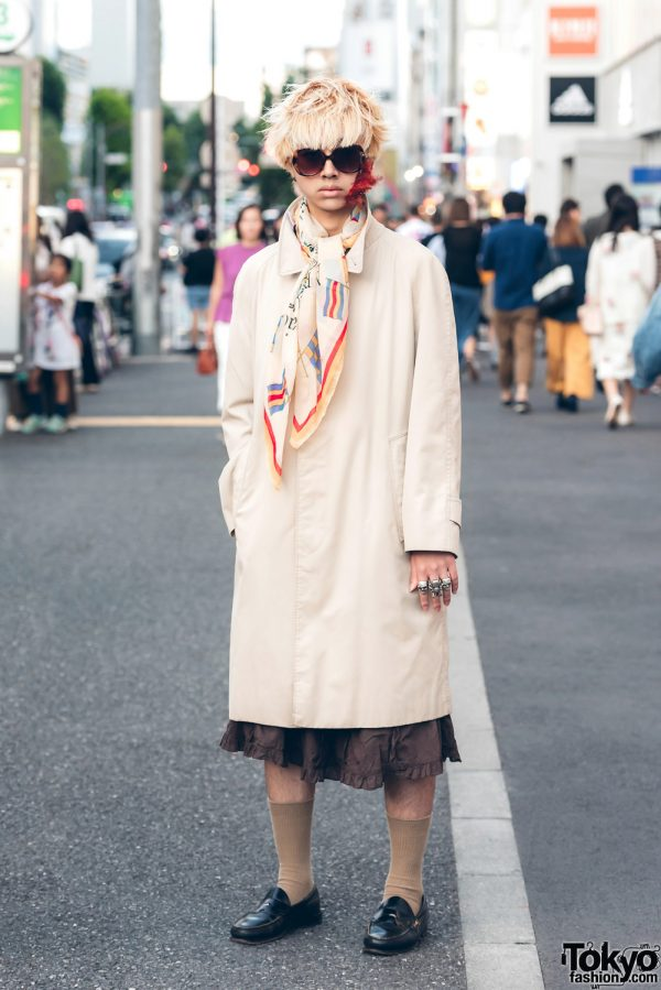 Harajuku Guy in Skirt Street Style w/ Burberry, Tokyo Human Experiments & Pfiff Feather Face Makeup