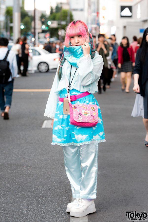 Handmade Harajuku Street Style w/ Clouds, Flowers, Pink Hair, Piercings, Cowl Scarf, Flappy & Choppy